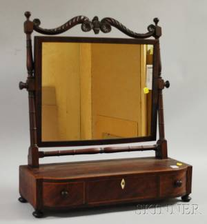 Classical Inlaid Carved Mahogany Dressing Mirror on Swellfront Threedrawer Cabinet