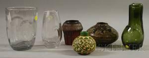 Three Modern Glazed Art Pottery Vases and Three Modern Art Glass Vases