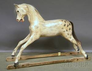 Large Carved and Painted Wood Childs Gliding Horse