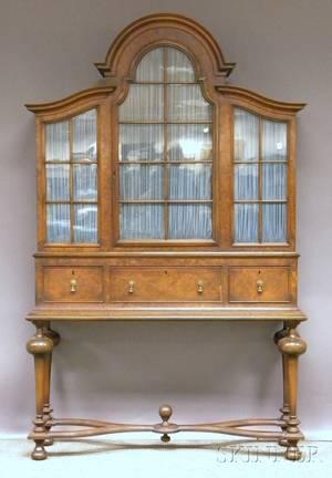 William  Marystyle Glazed Walnut and Burl Walnut Veneer China Cabinet