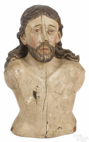 Continental carved and painted bust of Christ 18th19th c