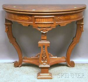 Victorian Renaissance Revival Carved Walnut Demilune Card Table