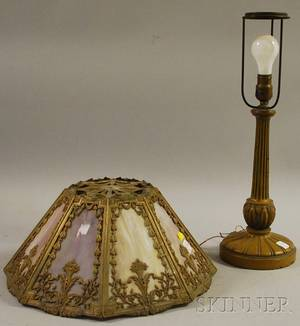 Octagonal Metal Overlay Slag Glass Panel Shade on a Painted Copper Table Lamp Base
