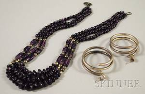 Multistrand Amethyst Bead Necklace and a Pair of Sterling Silver Hoop Earrings