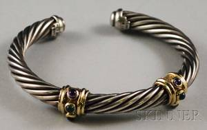 David Yurman Sterling Silver and 14kt Gold Bracelet