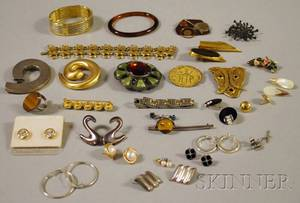 Small Group of Mostly Sterling Silver and Costume Jewelry