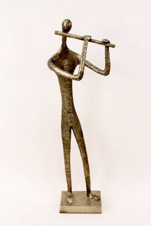 Lifesize Bronze Giacometti Style Musican Figure