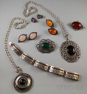 Group of Mexican and Other Sterling Silver Jewelry