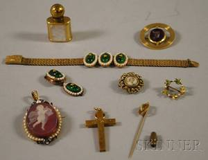 Group of Mostly Gold Enamel and Cameo Jewelry