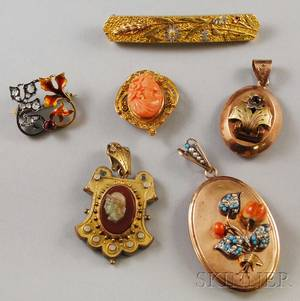 Six Antique Pendants and Brooches