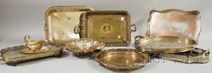 Nine Silverplated Serving Items