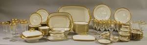 Ninetyeight Piece J Pouyat Limoges Gilt and Greek Key Pattern Porcelain Partial Dinner Service