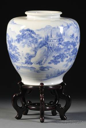 Chinese Blue and White Landscapedecorated Porcelain Jar and a Chinese Export Marbleinset Carved Hardwood Stand