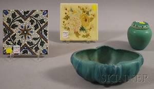 Rookwood Pottery Glazed Porcelain Cache Pot with Cover Van Briggle Pottery Turquoise Glazed Bowl and Two Art Pottery Tiles
