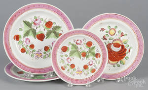 Three pearlware strawberry plates