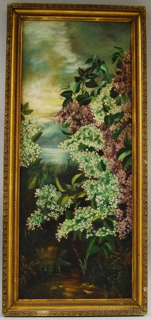 Late 19th Century American School Oil on Canvas Depicting Lilacs