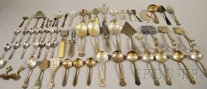 Large Group of Silverplated Flatware and Serving Items