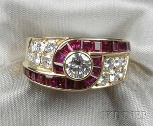 18kt Gold Ruby and Diamond Ring Van Cleef  Arpels France
