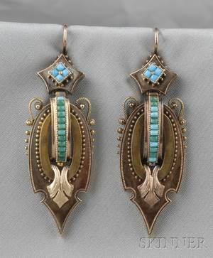 Antique 14kt Gold and Turquoise Earpendants