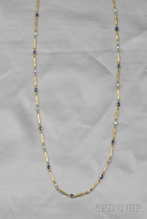 Art Nouveau Gold Sapphire and Freshwater Pearl Watch Chain