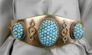 Antique 14kt Gold and Turquoise Bracelet
