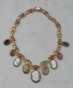 Antique Highkarat Gold and Hardstone Cameo and Hardstone Intaglio Necklace