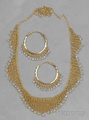 Highkarat Gold and Seed Pearl Bib Necklace and Earpendants