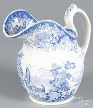 Blue Staffordshire Grecian Scenery pitcher