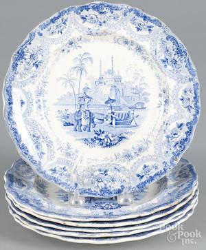 Six blue Staffordshire Mogul Scenery plates