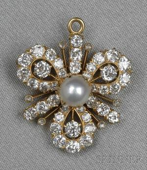 Antique 18kt Gold Cultured Pearl and Diamond Brooch Tiffany  Co