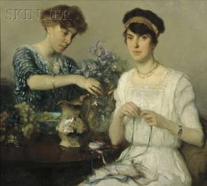 Francis Luis Mora American 18741940 The Artists Wife and Her Sister Arranging Flowers and Ribbons