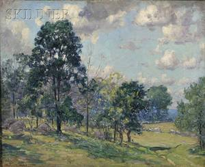 Frederick Mortimer Lamb American 18611936 Landscape with Sheep at Pasture