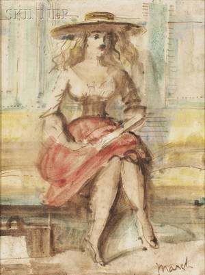 Reginald Marsh American 18981954 Portrait of a Seated WomanA Doublesided Composition