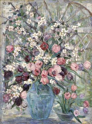 Dorothea M Litzinger American 18891925 Floral Still Life with Tulips and Flowering Branches