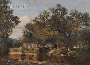 American School 19th Century River Landscape with Washerwomen at a Stream