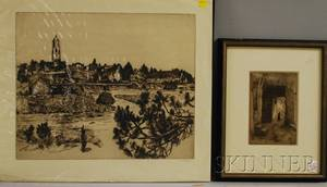 European School 20th Century Lot of Two Etchings William Strang British 18591921 Marshy View to Village