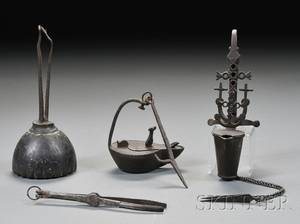 Three Early Lighting Items and a Pocket Pipe Tongs