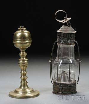 Brass Whale Oil Lamp and Small Tin and Glass Lantern