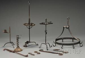 Five Early Lighting Devices a Wrought Iron Hanging Rack and Five Hooks