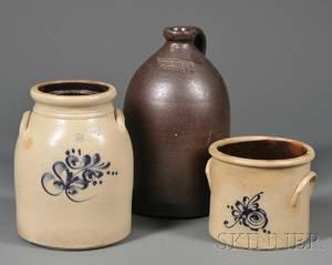 Cobaltdecorated Stoneware Jug and Crock and a Brown Stoneware Jug
