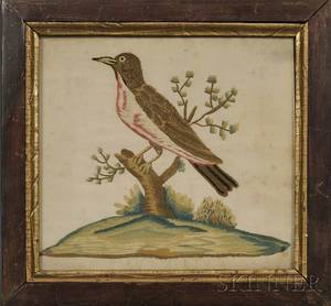 Two Small Framed Silk Needlework Pictures