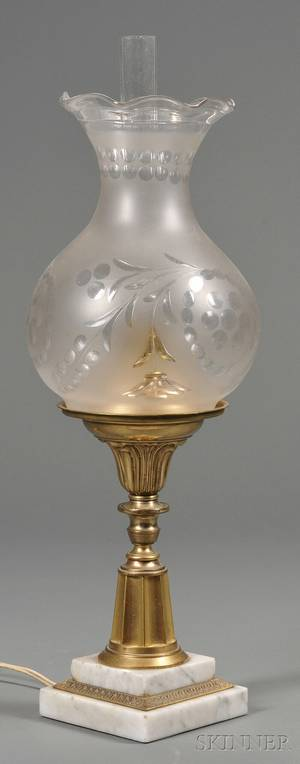 Giltbrass and Marble Astral Lamp with Wheelcut Shade