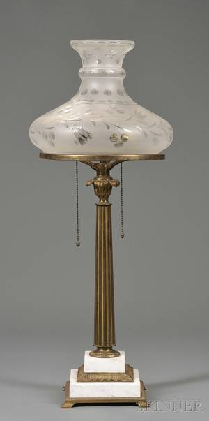 Giltbrass and Marble Astral Lamp