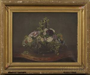 American School 19th Century Still Life with Basket of Flowers on a Marble Tabletop