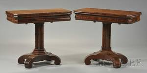 Near Pair of Classical Carved Mahogany and Flame Mahogany Veneer Card Tables