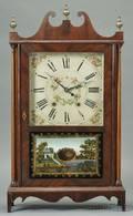Mahogany Veneer Pillar and Scroll Shelf Clock