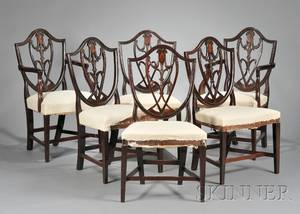 Set of Six Mahogany Carved and Inlaid Dining Chairs