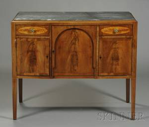 Federal Mahogany and Wavy Birch Veneer Inlaid Marbletop Sideboard