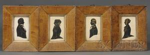 Group of Four Framed Silhouettes of Family Members