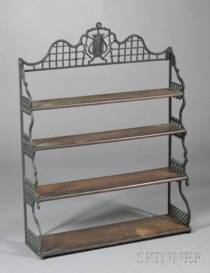 Wrought Iron and Wood Hanging Shelf